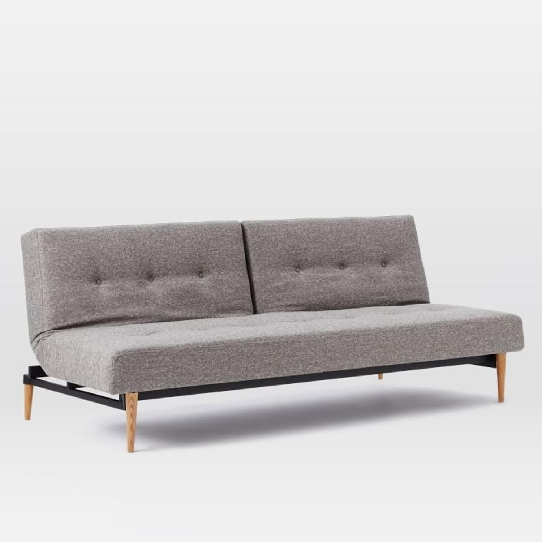 West Elm Mid-Century Futon Sofa Grey - image-1
