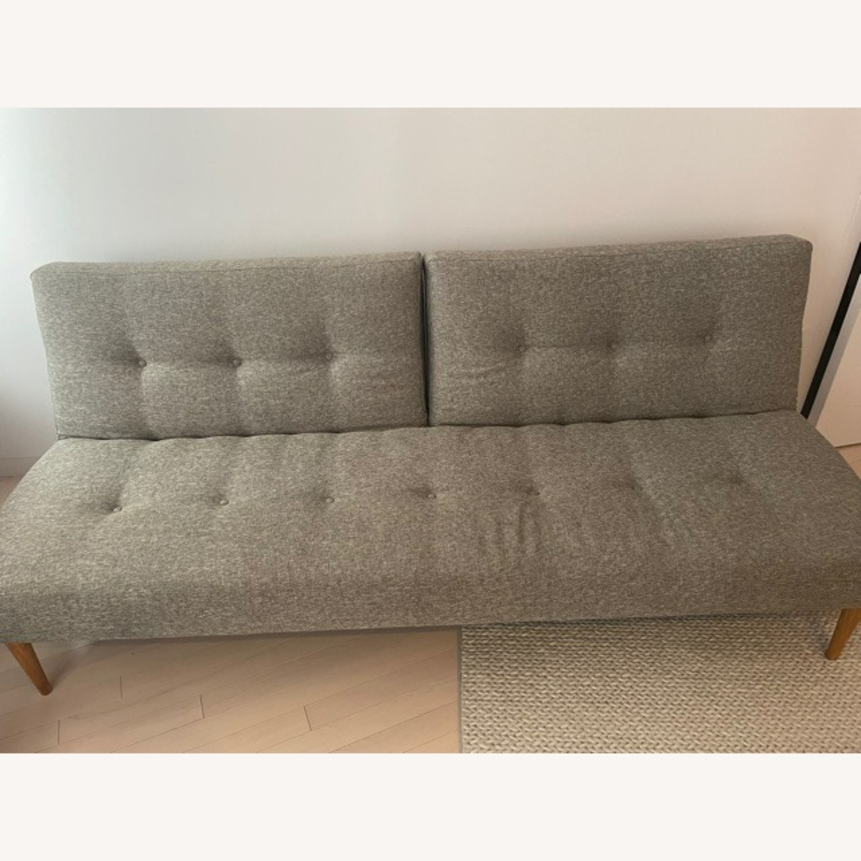 West Elm Mid-Century Futon Sofa Grey - image-4