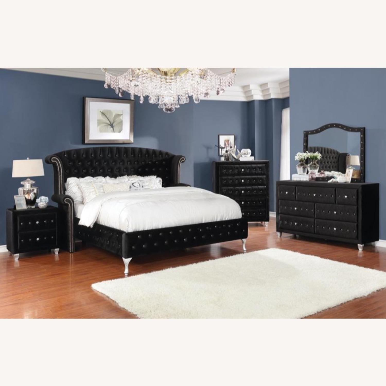 King Bed In Black Velvet W/ Metallic Legs - image-4