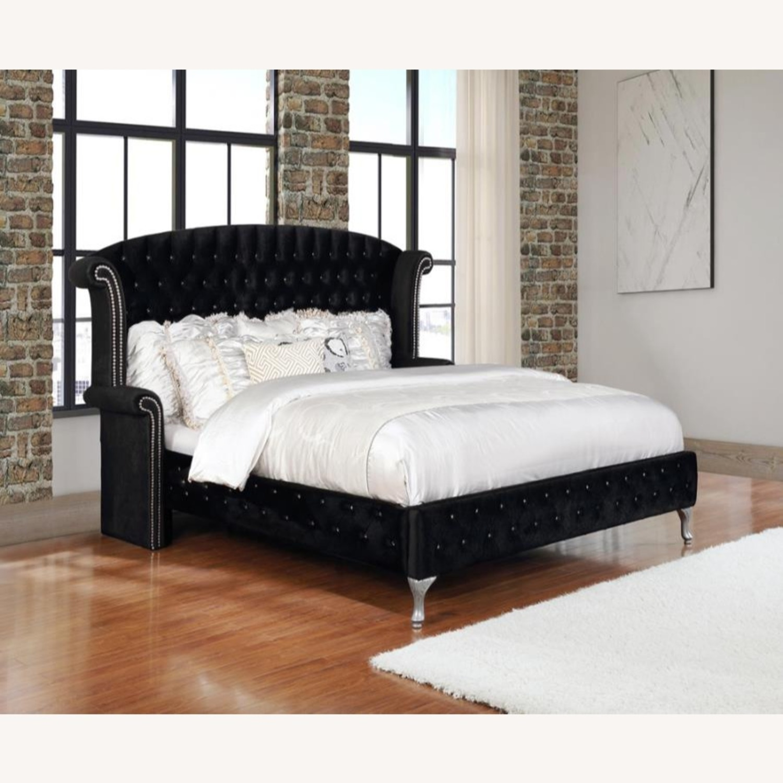 King Bed In Black Velvet W/ Metallic Legs - image-3