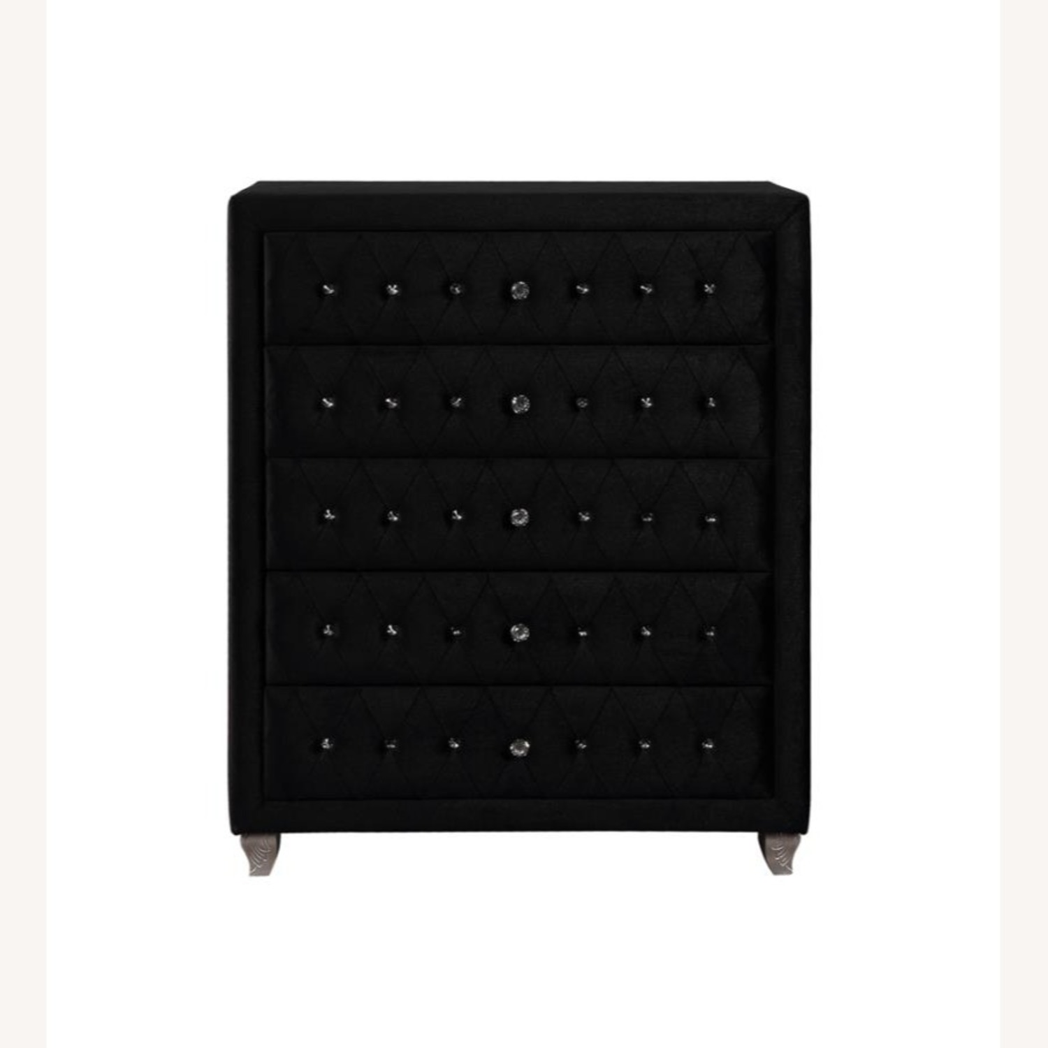 Chest In Black Velvet W/ Facetted Buttons - image-1