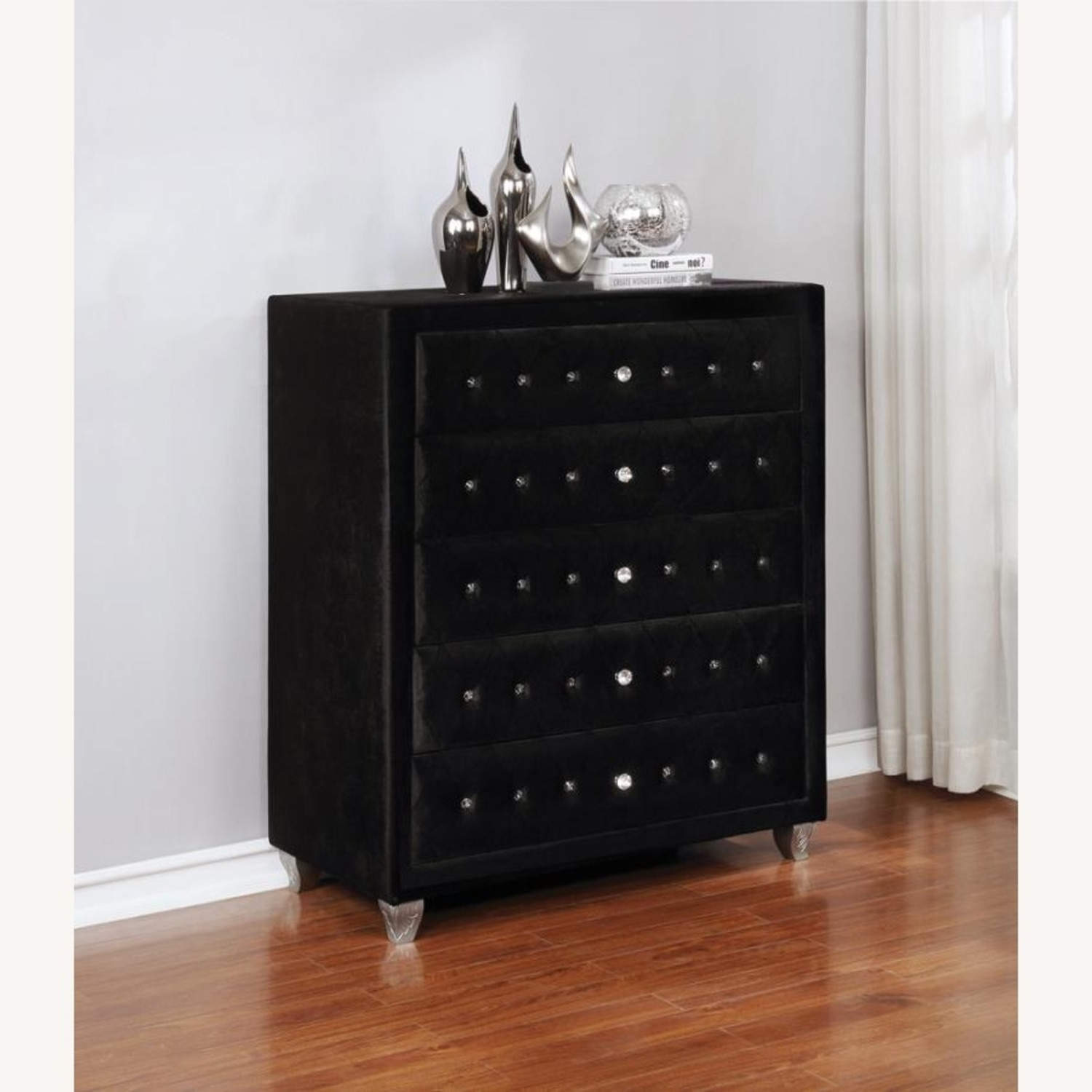 Chest In Black Velvet W/ Facetted Buttons - image-5