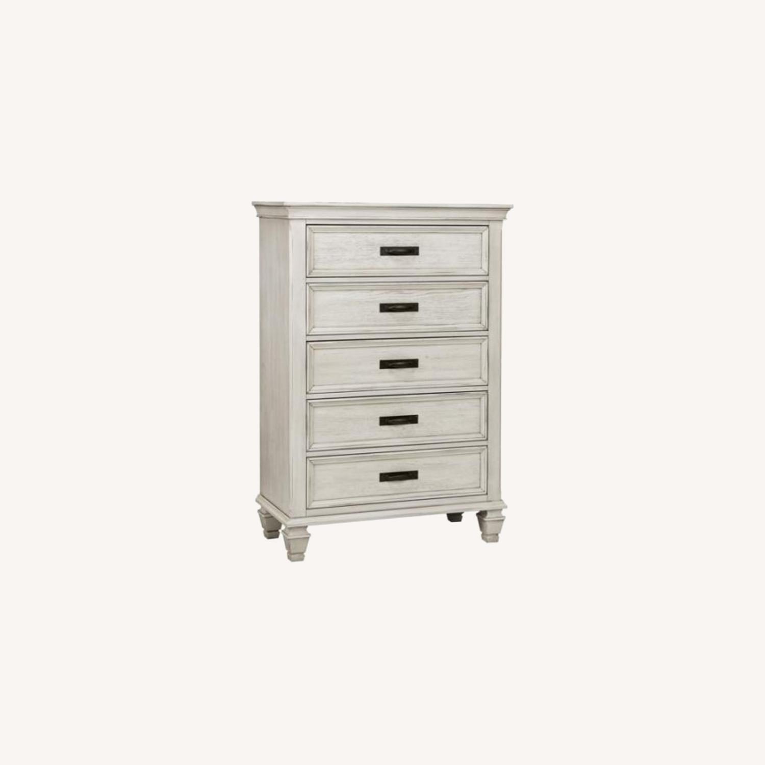 Chest In Warm Antique White Finish W/ Grey Accents - image-4
