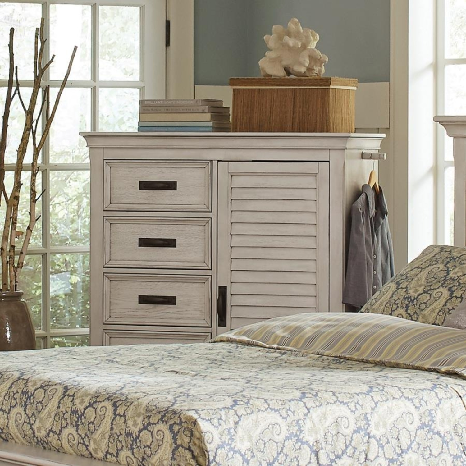 Chest In Warm Antique White Finish W/ Grey Accents - image-2