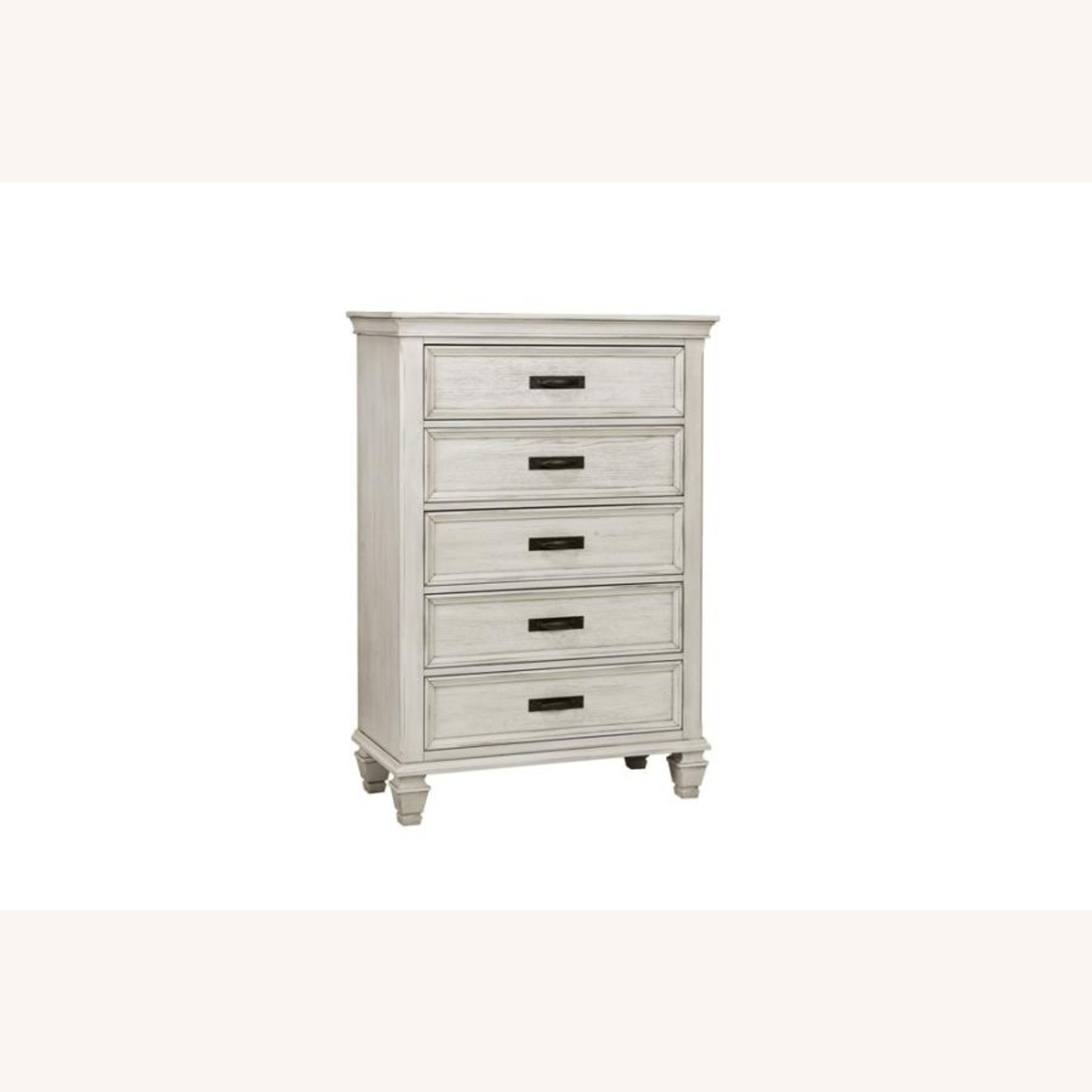 Chest In Warm Antique White Finish W/ Grey Accents - image-0