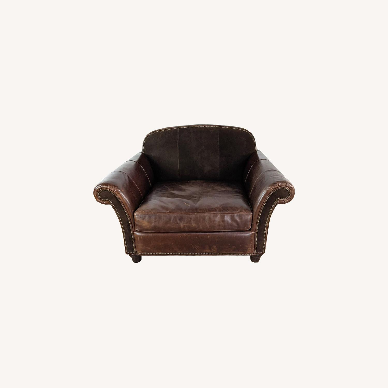 Bernhardt Leather Chair & A Half - image-0