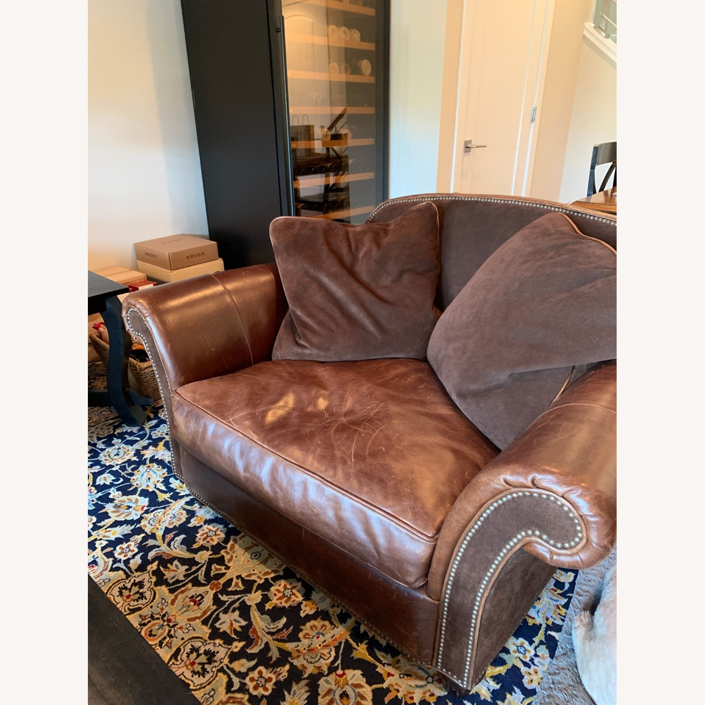 Bernhardt Leather Chair & A Half - image-1