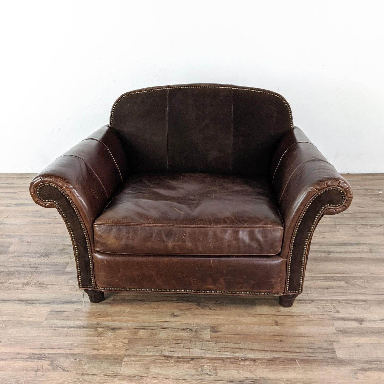 Bernhardt Leather Chair & A Half - image-4