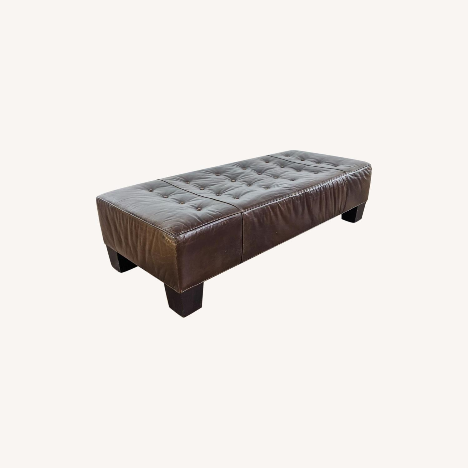 Brown Leather Bench - image-0