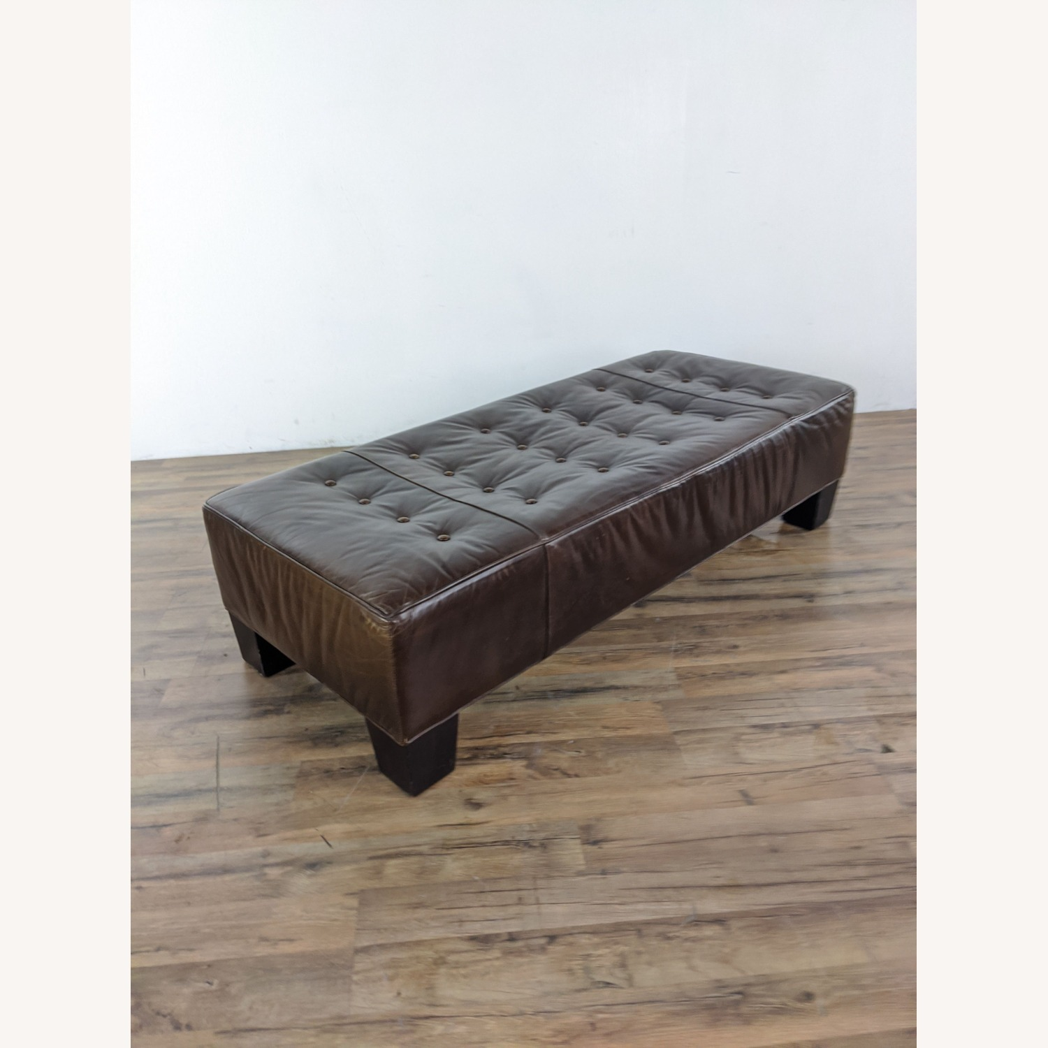 Brown Leather Bench - image-4