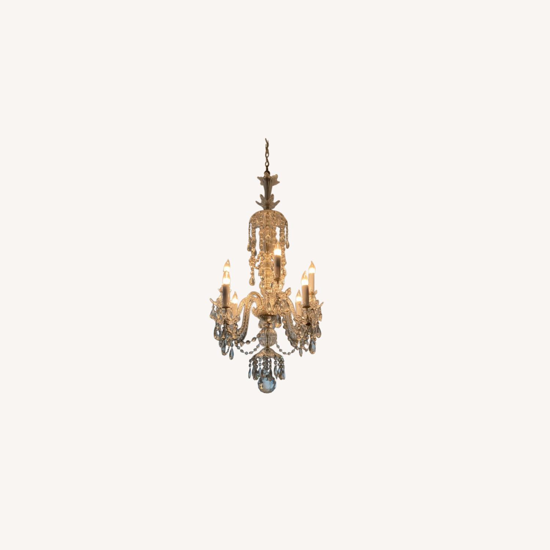 Antique Crystal 8-bulb Chandelier - image-0