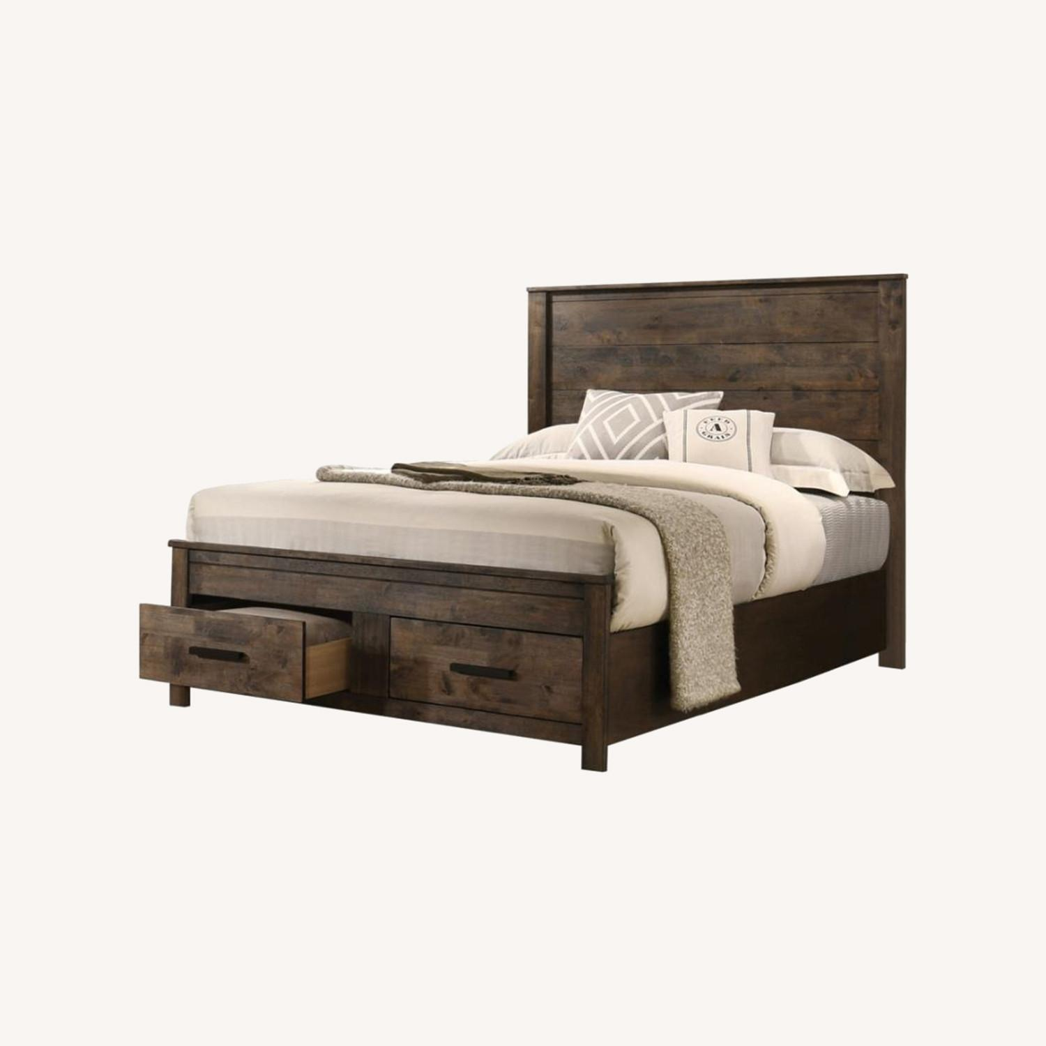 King Bed In Rustic Golden Brown Full Matte Finish - image-3