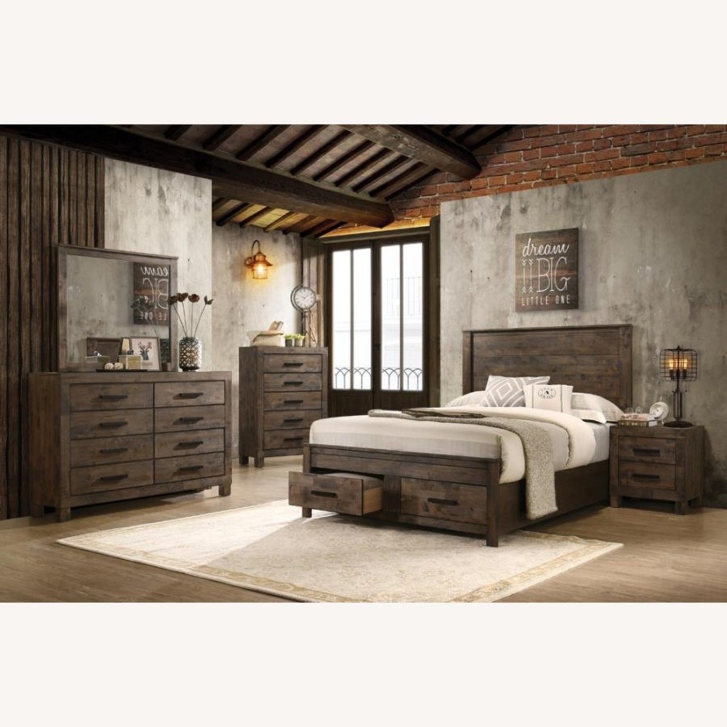 King Bed In Rustic Golden Brown Full Matte Finish - image-1