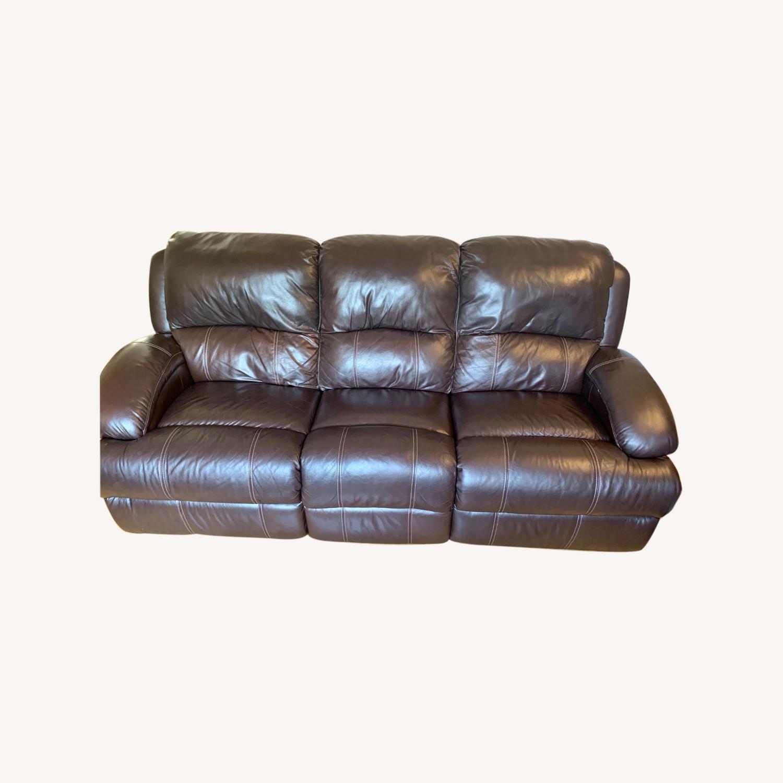 Bob's Furniture Power Leather Sofa - image-0
