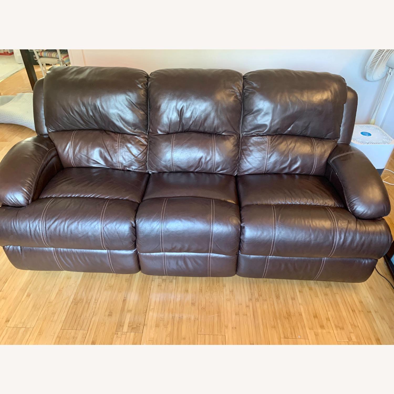 Bob's Furniture Power Leather Sofa - image-1