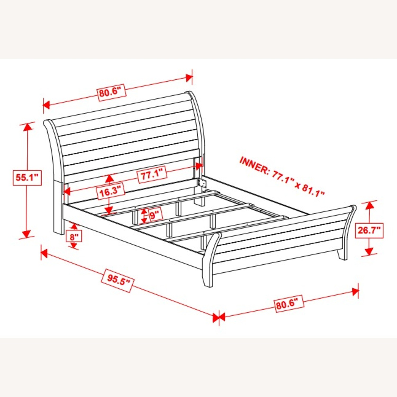 King Bed In 3D Paper Veneer Weathered Oak Finish - image-2