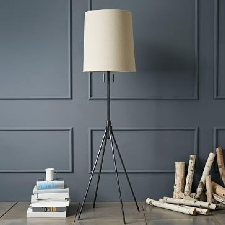 West Elm Silver Adjustable Floor Lamp - image-0