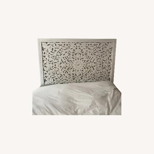 Used White Carved Queen Headboard for sale on AptDeco