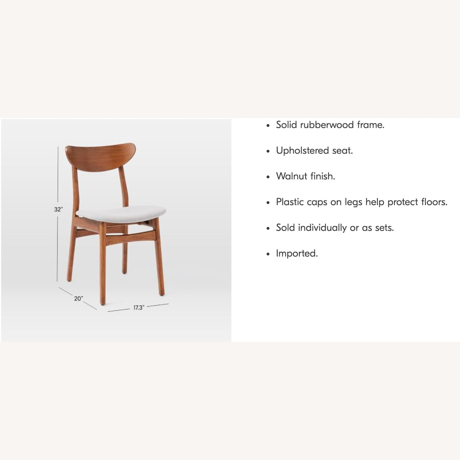 West Elm Classic Caf Upholstered Dining Chair- Set of 2 - image-6