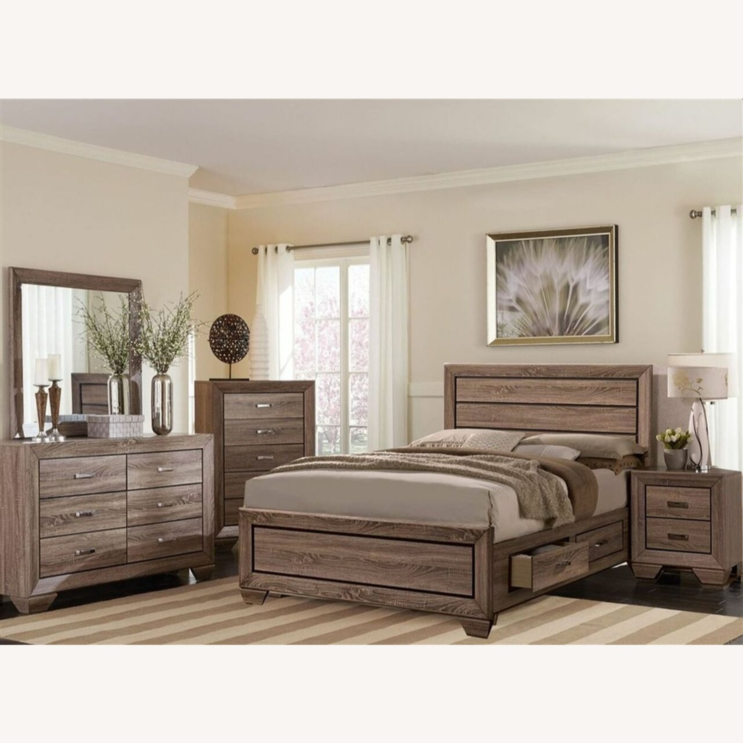 Storage King Bed In Washed Taupe Wood Finish - image-1