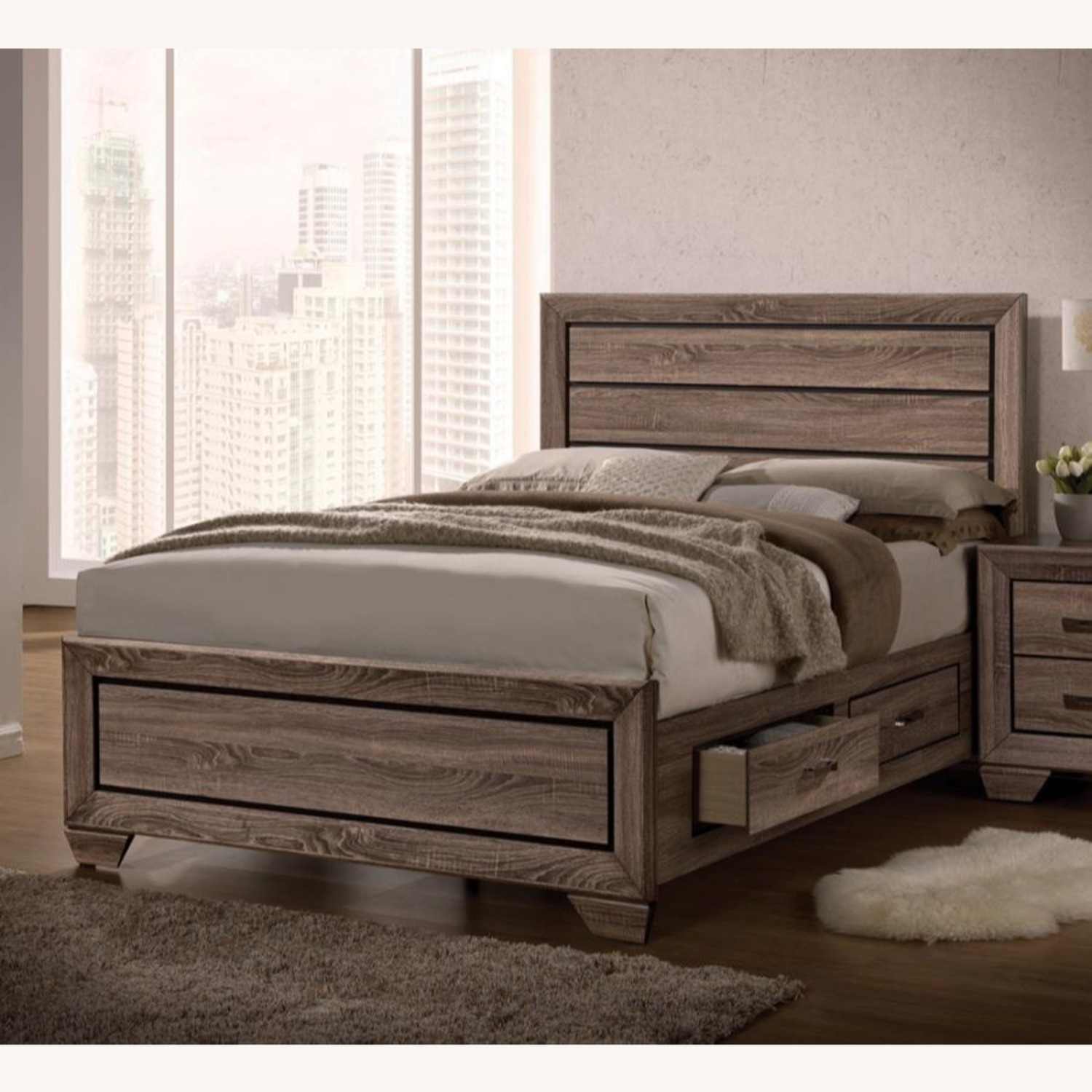 Storage King Bed In Washed Taupe Wood Finish - image-0