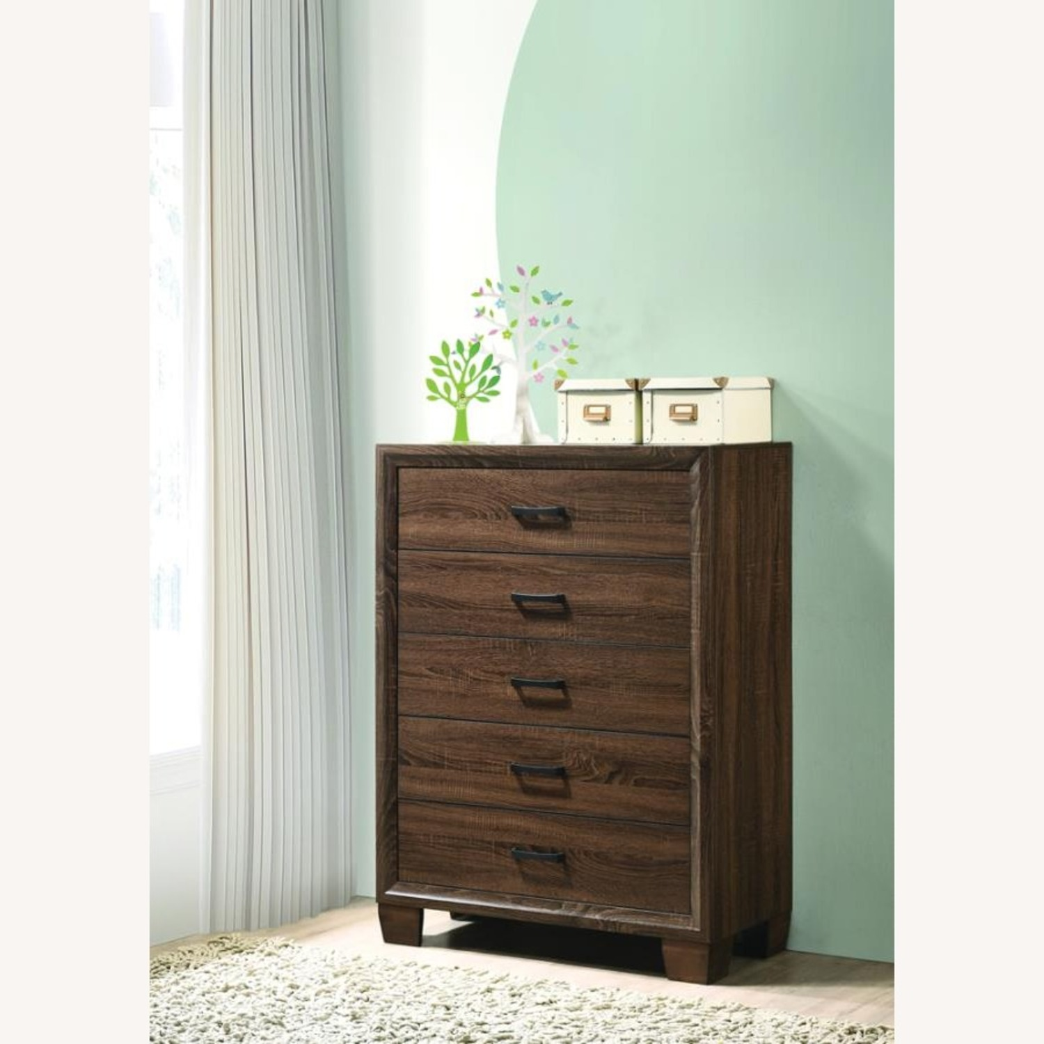 Modern Chest In Warm Brown Finish - image-5