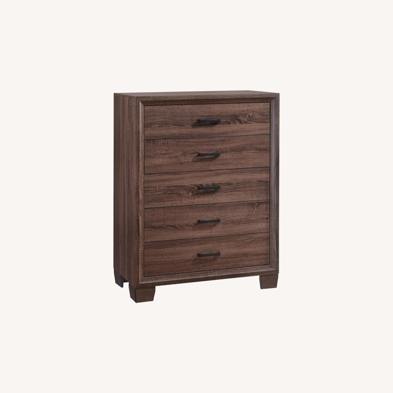 Modern Chest In Warm Brown Finish - image-6