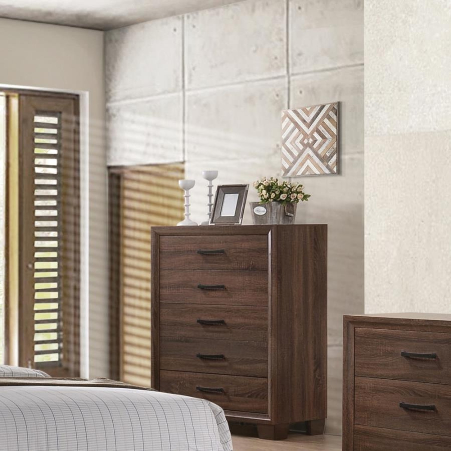 Modern Chest In Warm Brown Finish - image-4