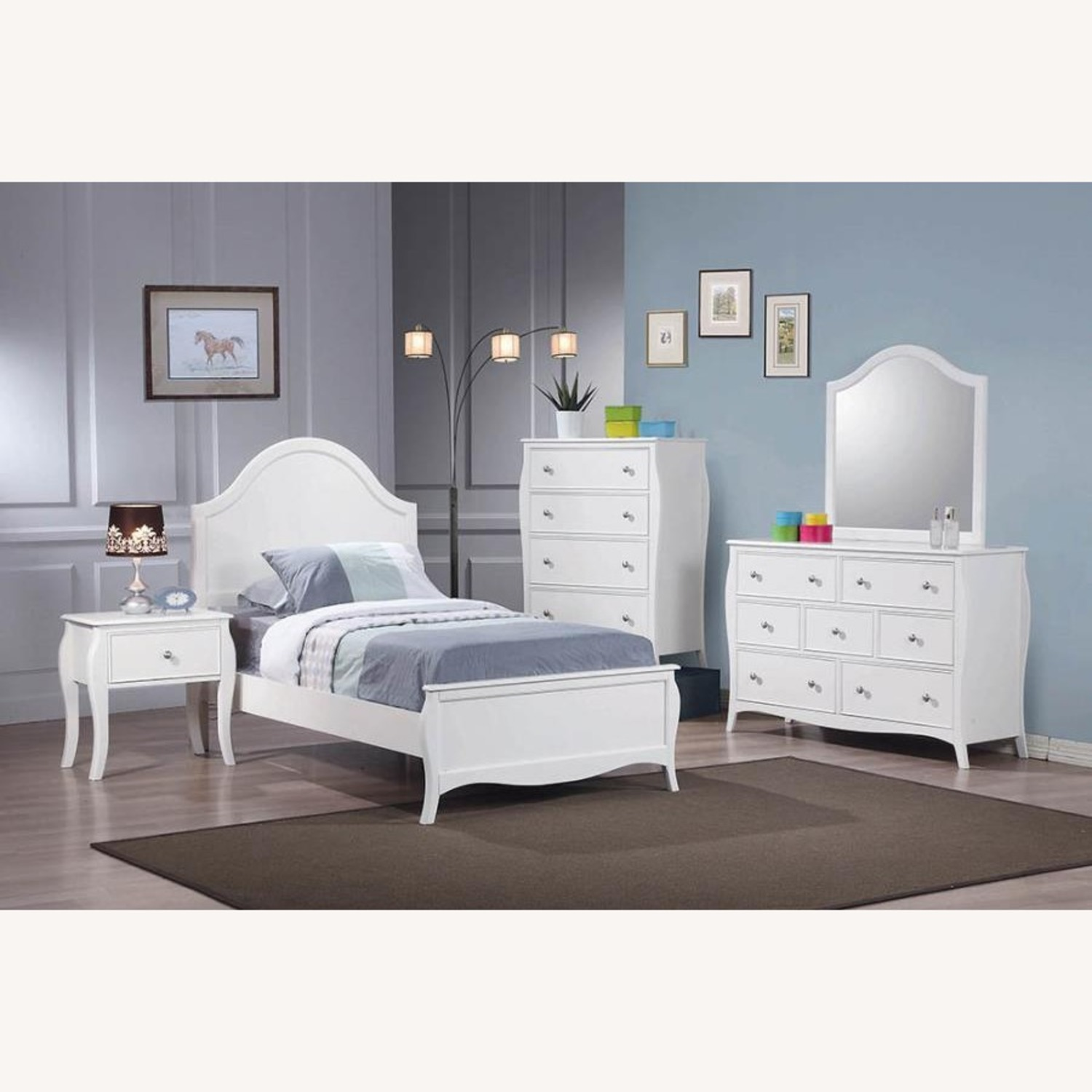 Full Bed In White Finish W/ Arched Headboard - image-2