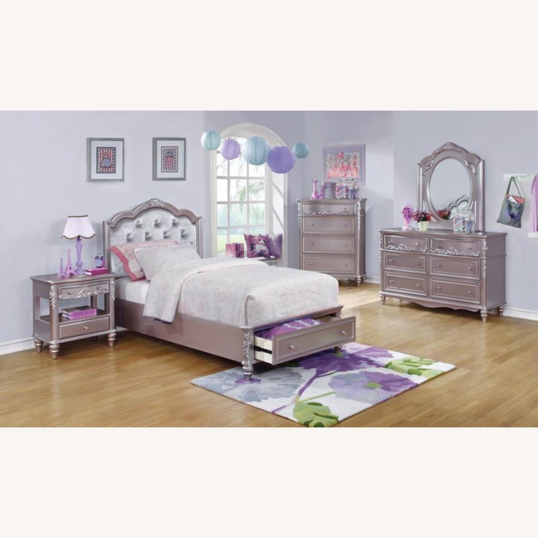 Full Bed In Metallic Lilac Finish W/ Storage - image-2