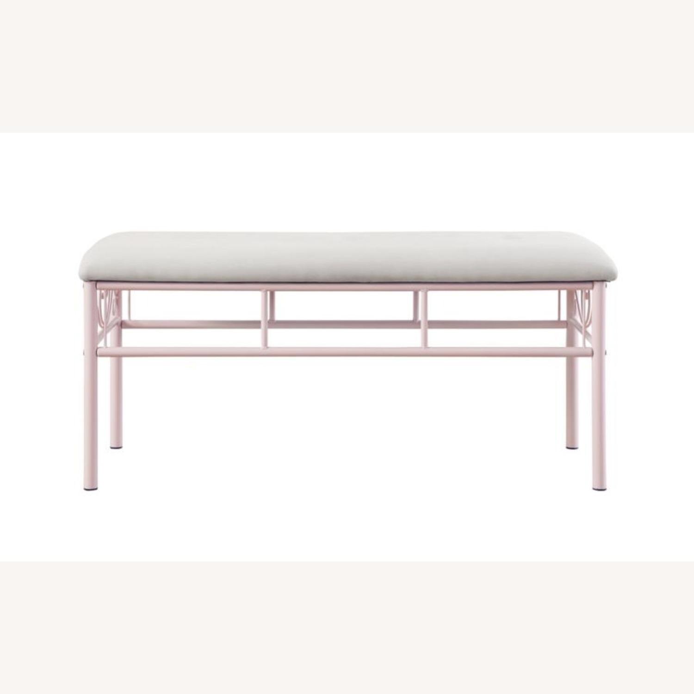 Bench In Powder Pink Metal Finish - image-1
