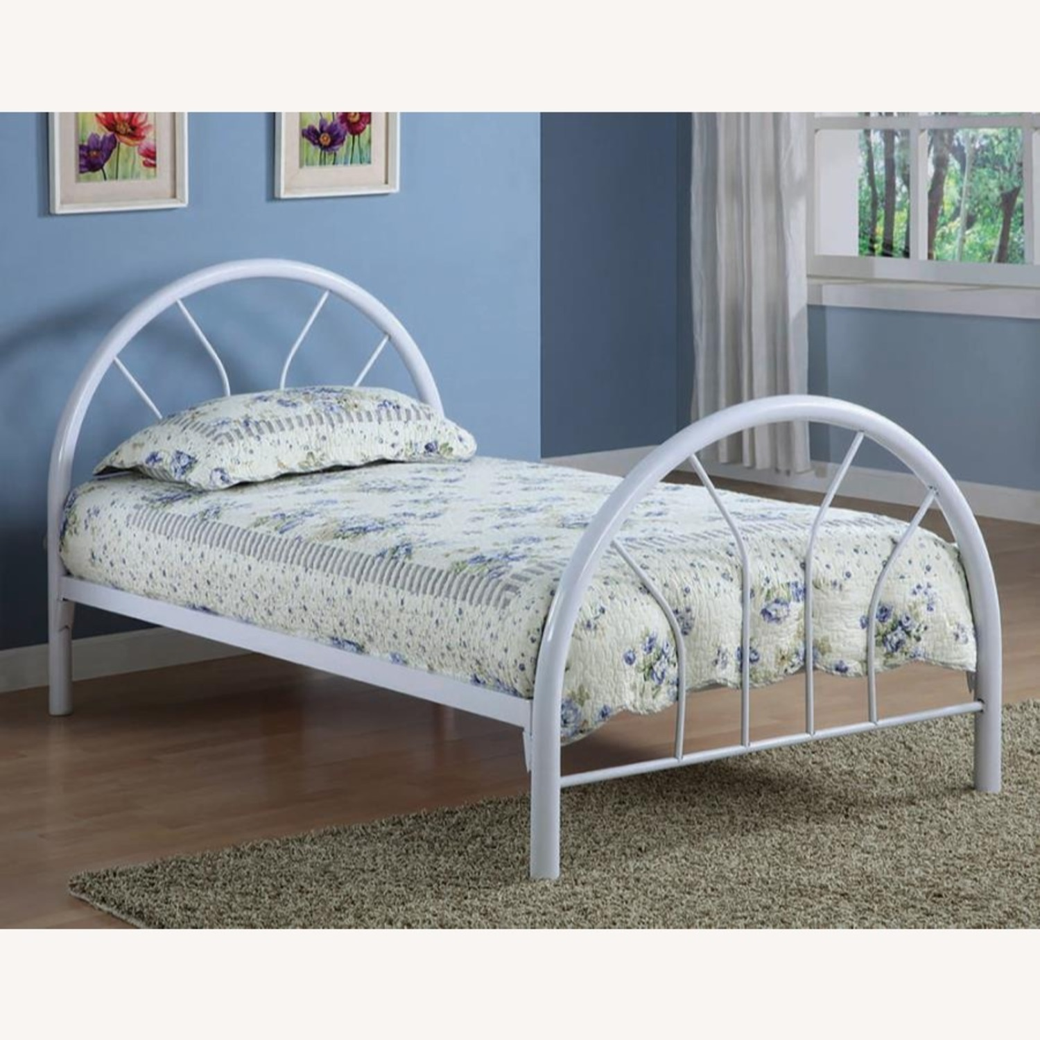 Contemporary Twin Bed In White Metal Finish - image-2