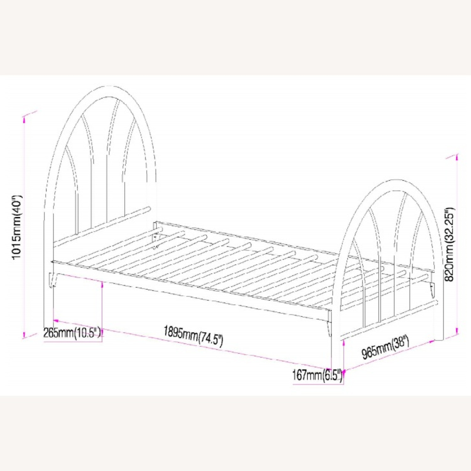 Contemporary Twin Bed In White Metal Finish - image-3