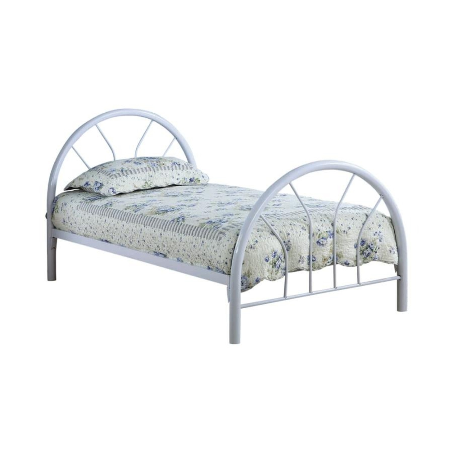 Contemporary Twin Bed In White Metal Finish - image-0