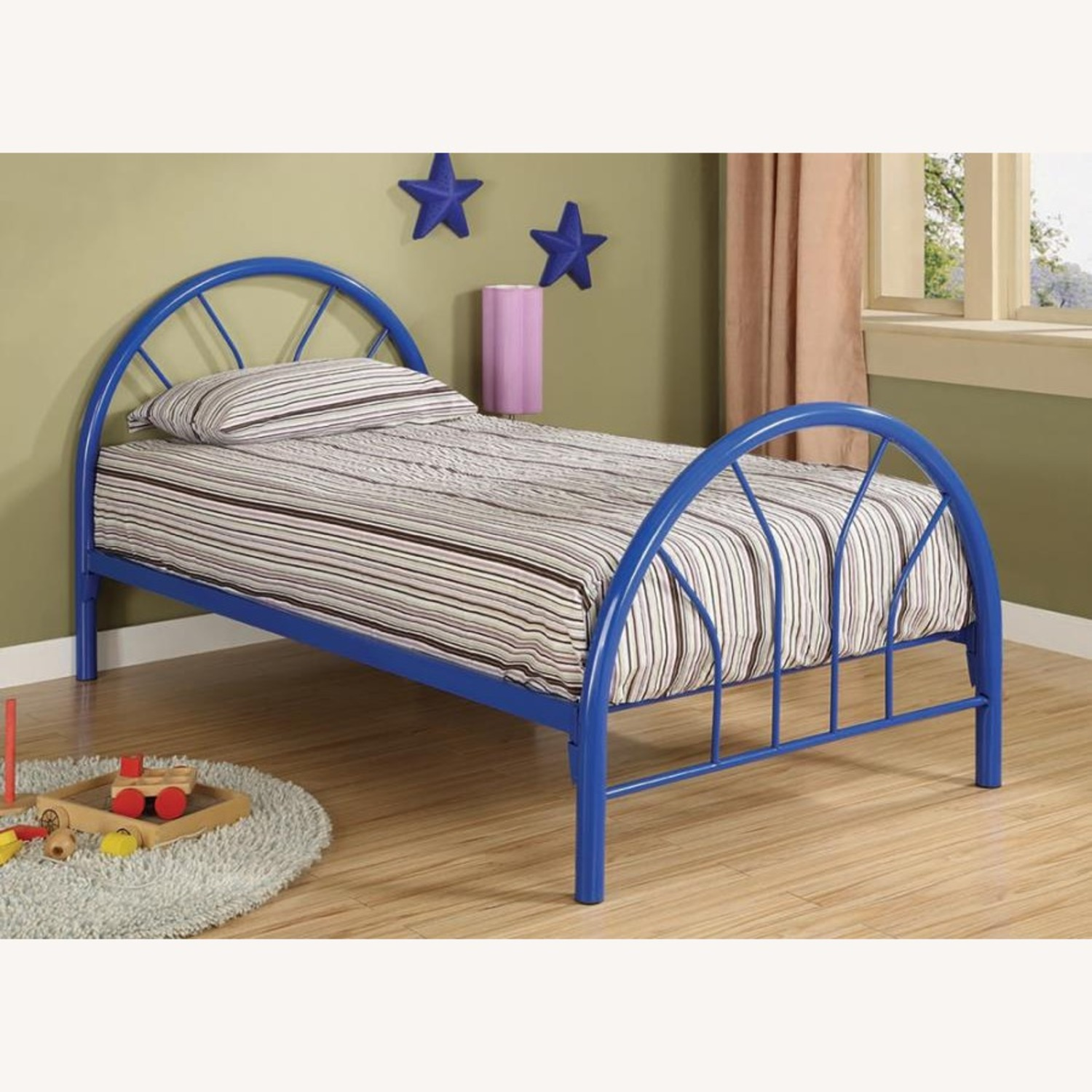 Contemporary Twin Bed In Blue Metal Finish - image-1