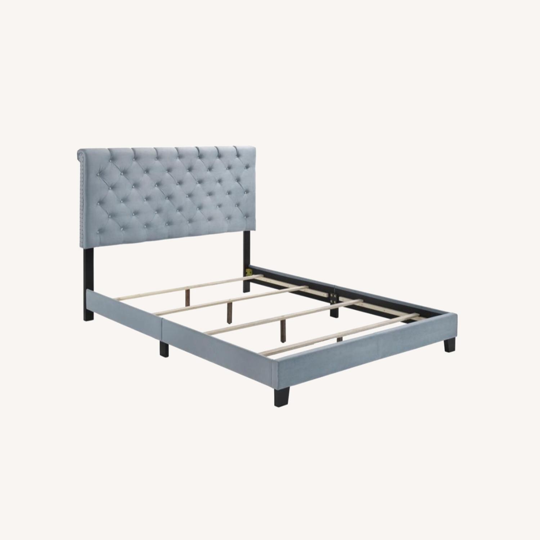 Transitional King Bed In Slate Blue Velvet Finish - image-5
