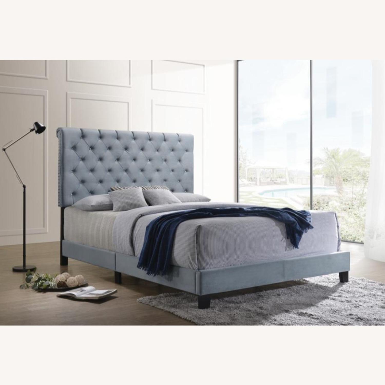 Transitional King Bed In Slate Blue Velvet Finish - image-3