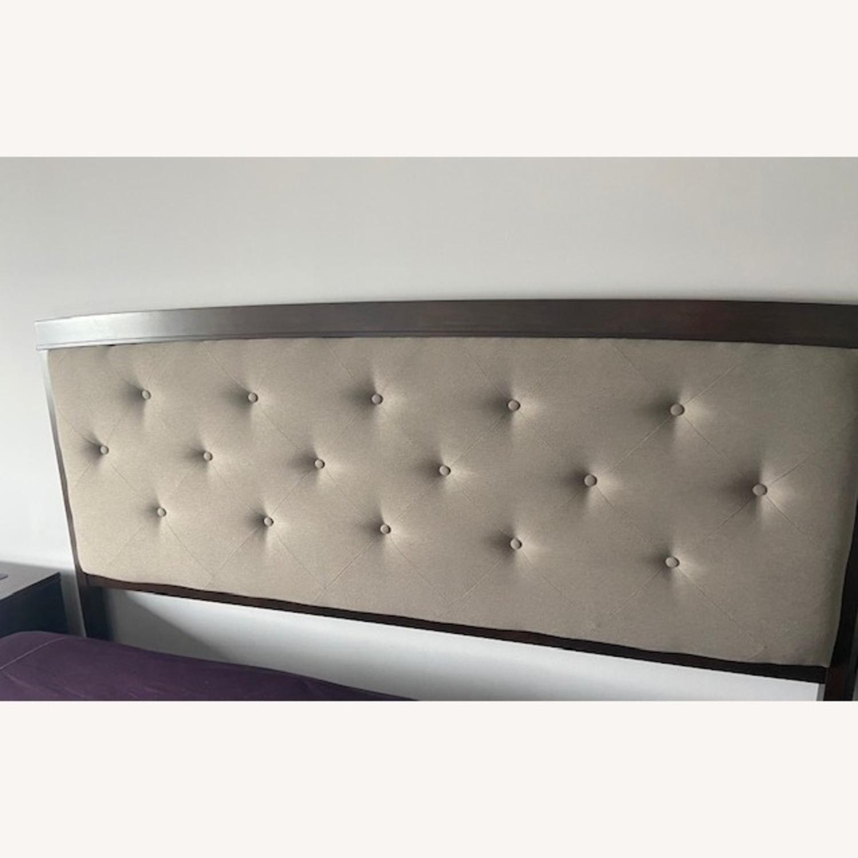 Dark Wood King Bed w/Footboard - image-0