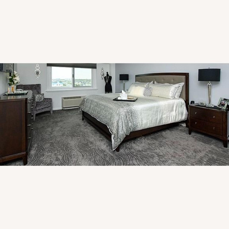 Dark Wood King Bed w/Footboard - image-1