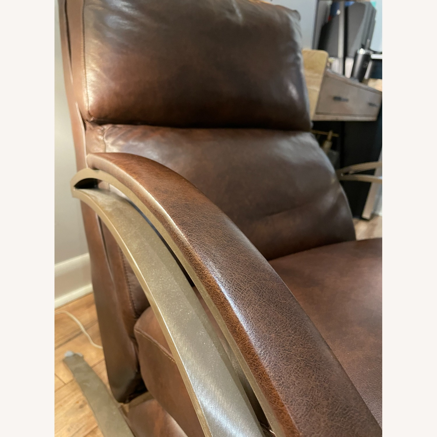 Bloomingdale's Modern Leather Recliner Chair - image-4