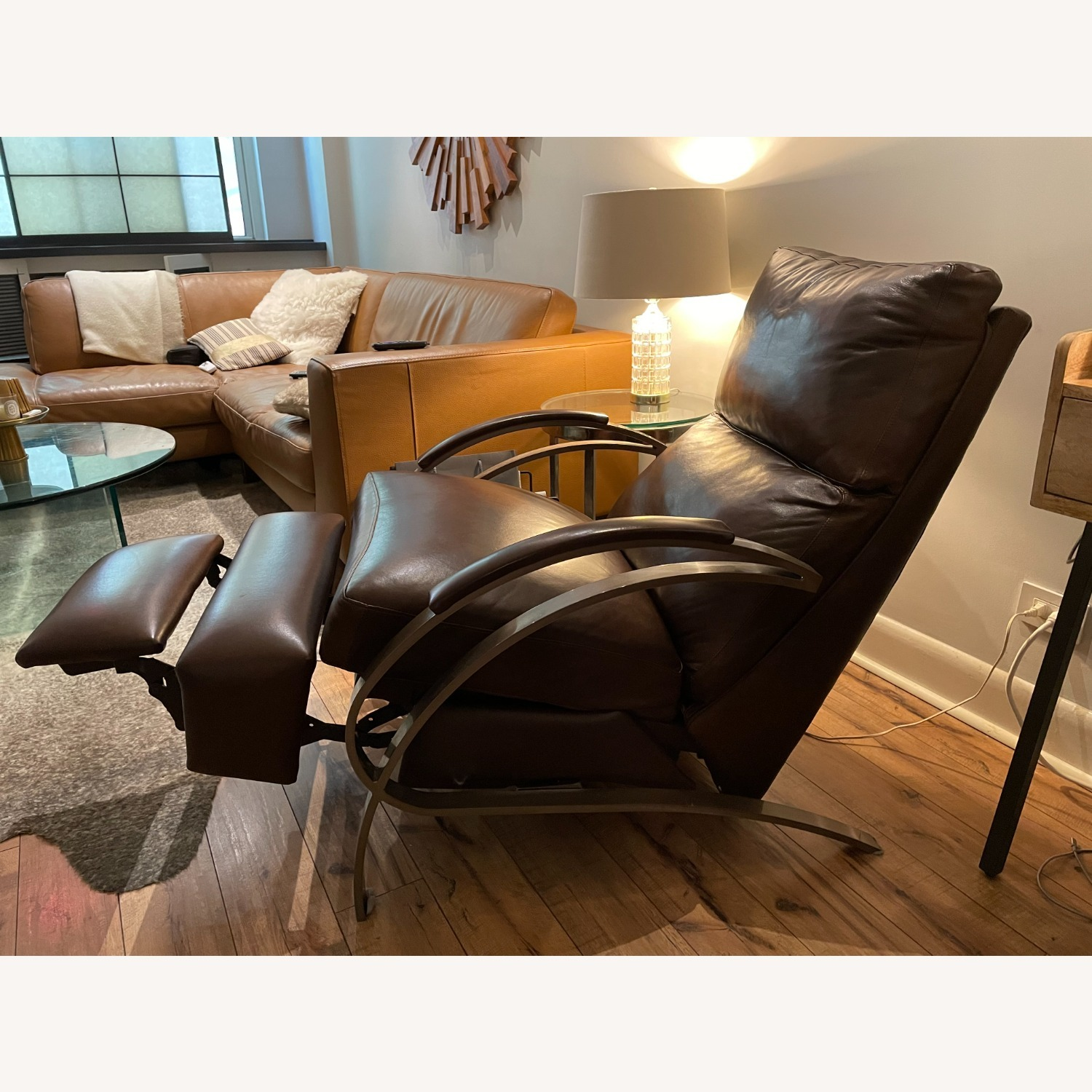 Bloomingdale's Modern Leather Recliner Chair - image-1