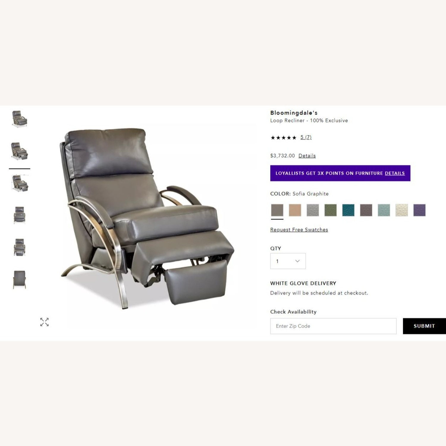 Bloomingdale's Modern Leather Recliner Chair - image-7