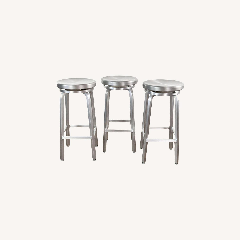 Crate & Barrel Silver Bar Stools - image-0