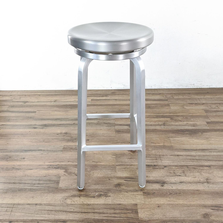 Crate & Barrel Silver Bar Stools - image-1