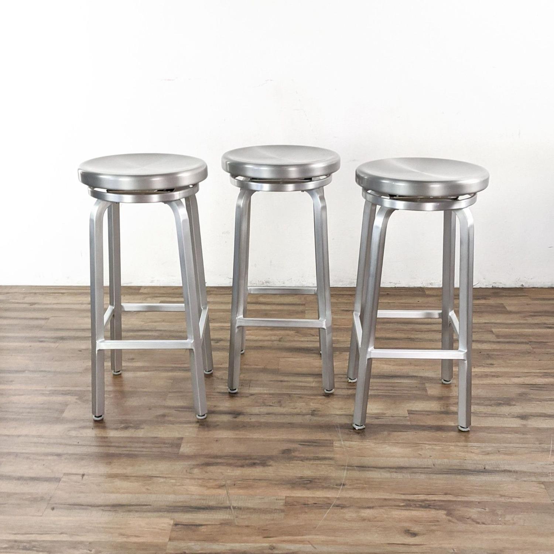 Crate & Barrel Silver Bar Stools - image-2