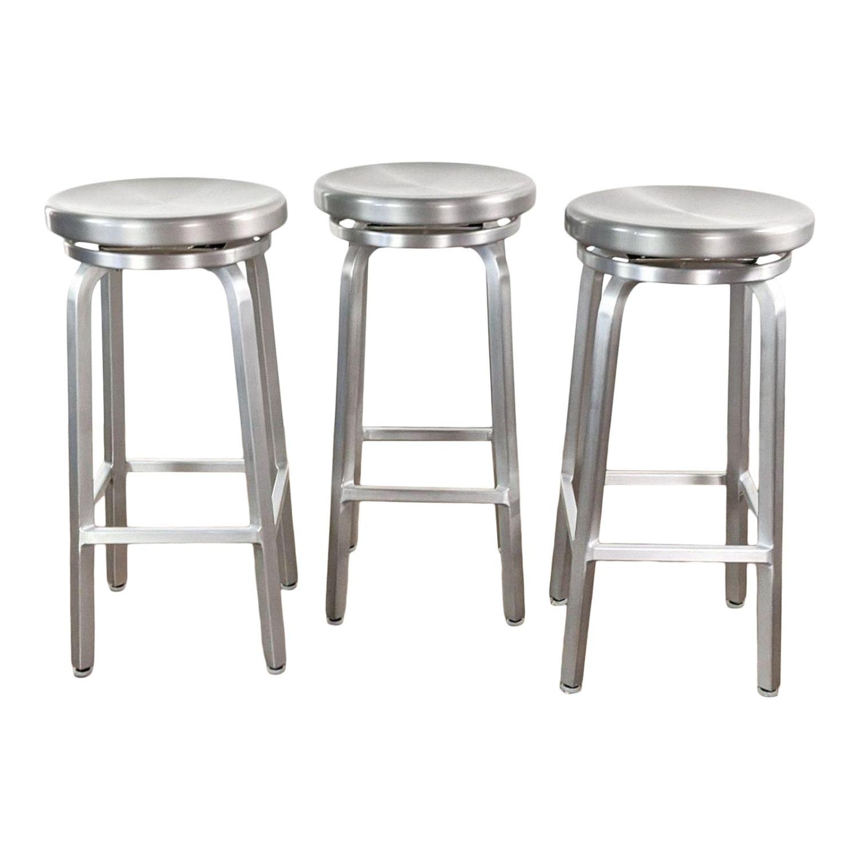 Crate & Barrel Silver Bar Stools - image-5
