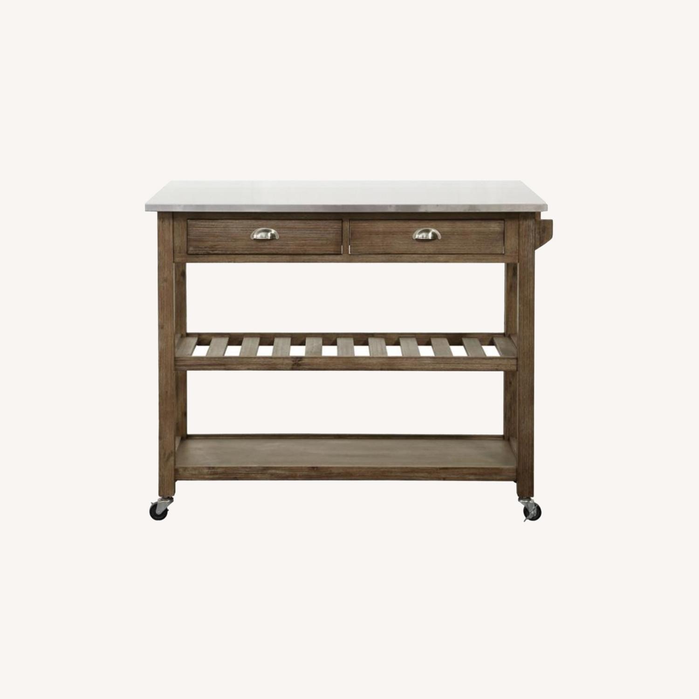 Drop Leaf Wood Kitchen Cart - image-0