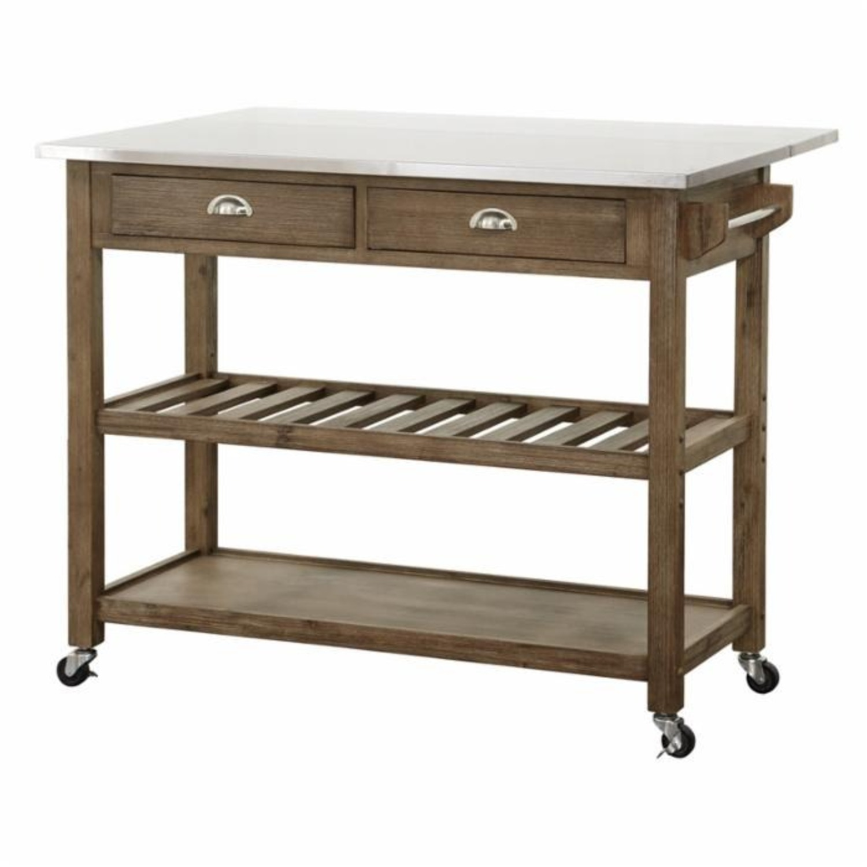 Drop Leaf Wood Kitchen Cart - image-2