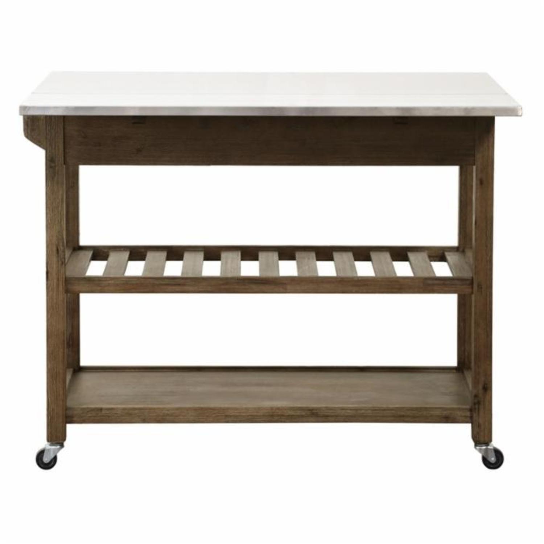 Drop Leaf Wood Kitchen Cart - image-4
