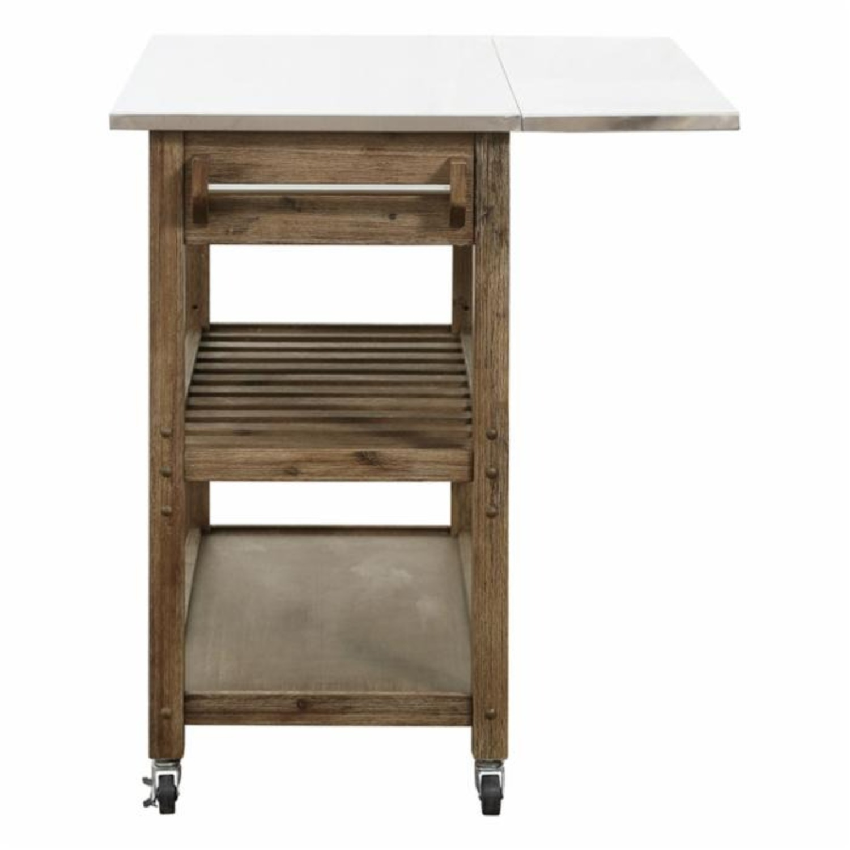 Drop Leaf Wood Kitchen Cart - image-3